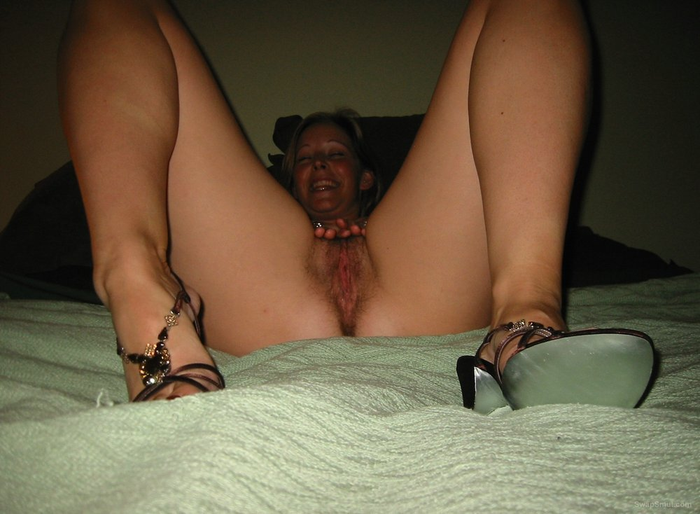 Wife Spreads Pussy While Wearing Lingerie And Shows Hairy Bush