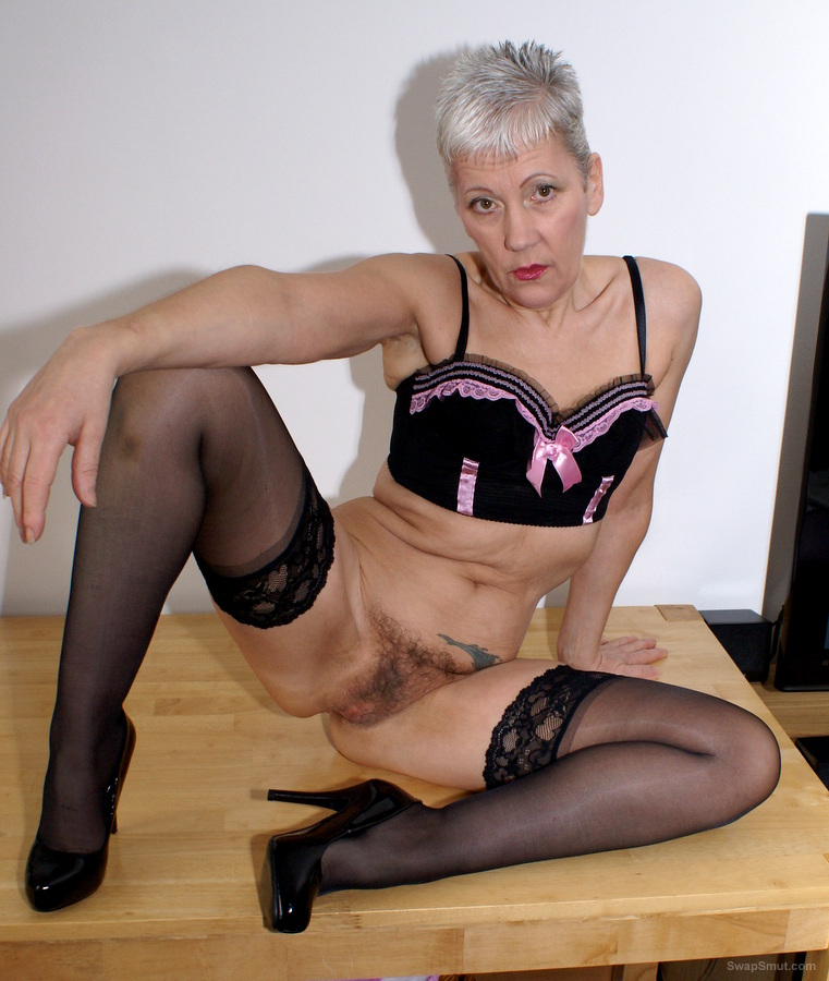 Granny Stretches Labia, Shows Off Her Big Hairy Grey Bush