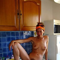 Showing Her Hairy Pussy In Her Kitchen