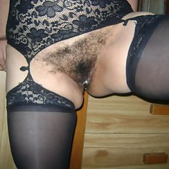Chunky Wife Wears Lingerie And Gets Cum Over Her Hairy Pussy