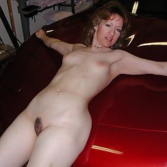 Hairy Wife Shows Off Her Pussy In Front Of The Car