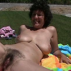 Mature Woman Shows Hairy Pussy To Camera