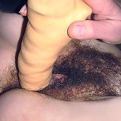 Fucking Her Bushy Pussy With Dildo