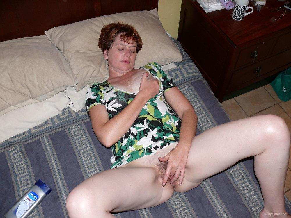 Stroking Her Clit, Showing Off Her Hairy Pussy