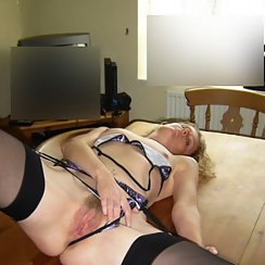 Girlfriend Pulls Her Panties Aside And Shows Hairy Twat