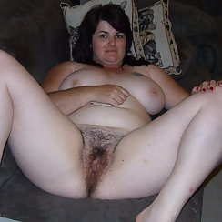 Beautiful BBW With Brown Hair Shows Us Her Hairy Pussy