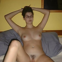 Hairy Girl Wearing Glasses Has Nice Tits And Sweet Pussy