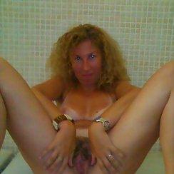 Blonde Freak Spreads Her Hairy Snatch