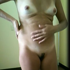 Hairy Wife Looking Horny With Her Landing Strip