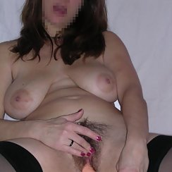 Busty Babe Loves Toying With Her Hairy Pussy