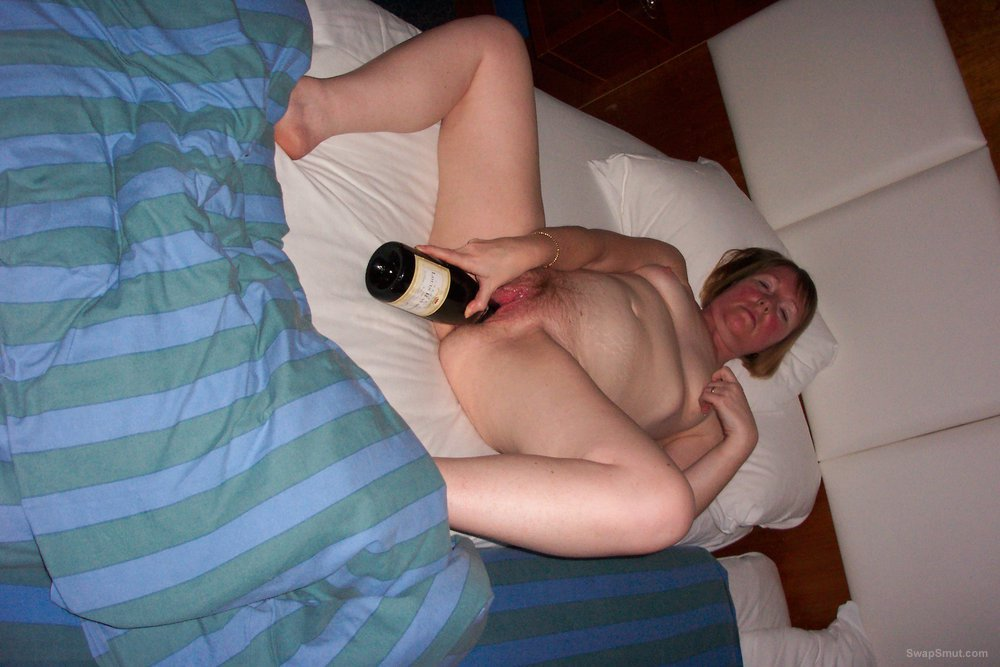 Fucking Her Hairy Pussy With A Wine Bottle