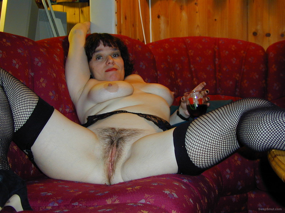 Spreading Her Hairy Pussy Nice And Wide