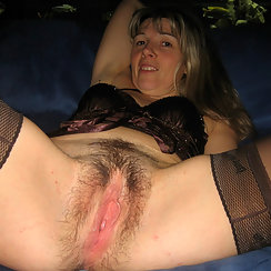 Blonde Has Very Hairy Pussy, Enjoys Wearing Lingerie Too