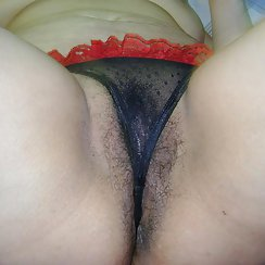 Girlfriend Has A Hairy Pussy With Black Pubes, Wearing A Hot Thong