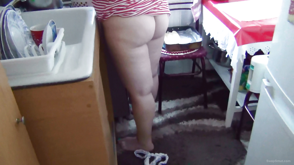 Husband Follows Wife Around The House And Ends Up Getting Himself Off On Her Bare Ass