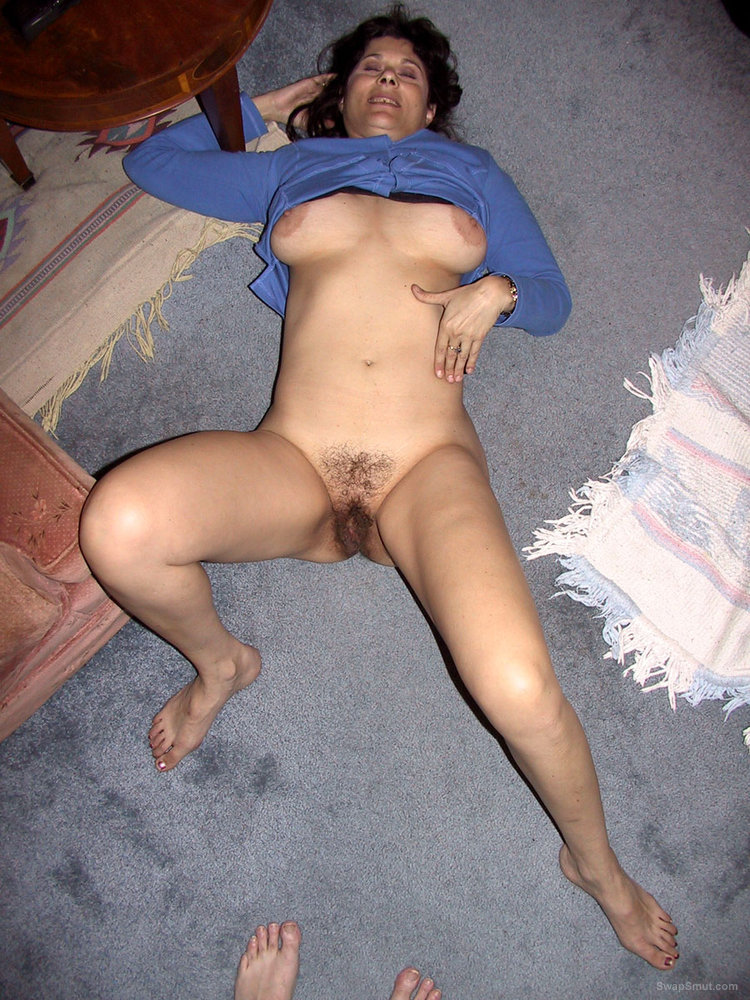 Sexy Brunette Laying On Her Back, Hot And Horny