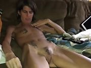 Skinny wife with hairy pussy undressing