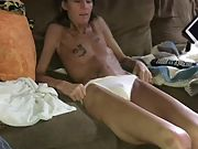Skinny granny undressing and showing off her hairy pussy