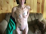 Skinny tattooed granny wants her pussy seen all over the world